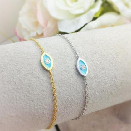 Evil Eye Bracelet - gold and white ..