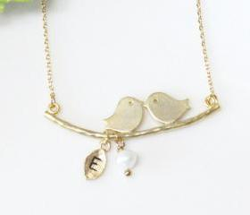 Love birds initial necklace, Leaf Initial, Personalized Initial Jewelry, Family necklace, Mom jewelry, Mother Child