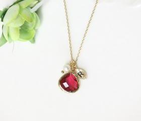 Leaf initial, Ruby crystal pendant necklace, with freshwater pearl, stone in bezel, Initial necklace, birthstone of July