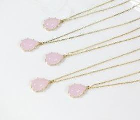 Bridesmaid gifts - Set of 5 - Pink drop pendant necklace