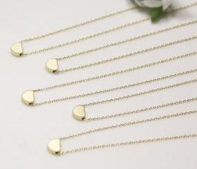 Bridesmaid gifts - Set of 5 - Golden tiny heart simple necklaceFrom ElliesButton