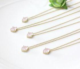 Bridesmaid gifts - Set of 5 - Dainty Pink pendant necklace