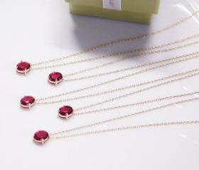 Bridesmaid gifts - Set of 5 - Ruby pendant necklaceFrom ElliesButton