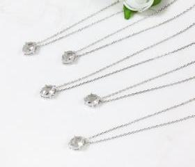 Bridesmaid gifts - Set of 5 - Clear white crystal pendant necklace