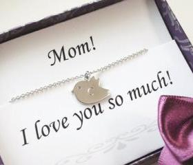 Mothers day gift - Thank you card & Personalized initial bird necklace,everyday jewelry,Mom jewelry, gifts for mom