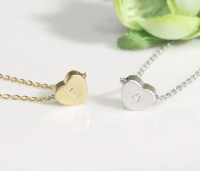 Heart initial necklace, Personalized necklace, gold and white gold ( Choose your color ), simple and delicate jewerlyFrom ElliesButton