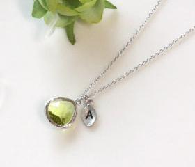 Leaf initial, Peridot crystal pendant necklace, Olive Green, Initial necklace, August Birthstone, Birthday Gift