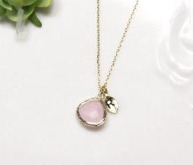 Leaf initial, Pink crystal pendant necklace, stone in bezel, Initial necklace