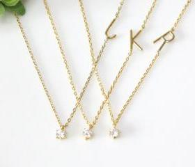 Personalized initial necklace with tiny crystal, Initial necklaceFrom ElliesButton