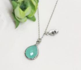 Leaf initial, Mint crystal drop necklace, Gorgeous Drop ,stone in twisted bezel, Initial necklace