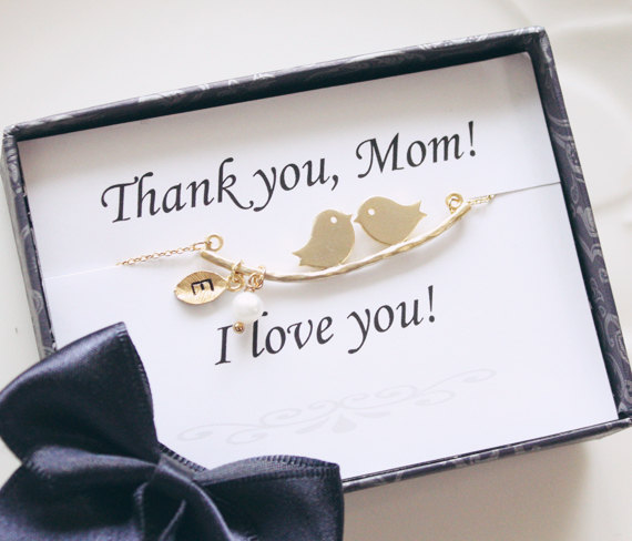 Thank You Gift For Mom On Wedding Day : Mothers day gift - Thank you card & Love birds initial necklace ...