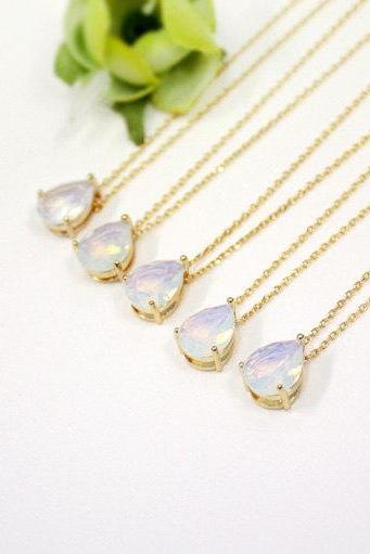 Bridesmaid gifts - Set of 3,4,5,6 -Moonstone crystal drop necklace, Gorgeous Drop,stone in bezel,raindrop Necklace,white opal, opal pendant