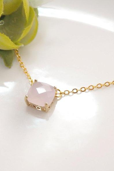 pink necklace, pink crystal necklace, soft pink, square stone, glass stone, Bridesmaid gift, Bridesmaid necklace