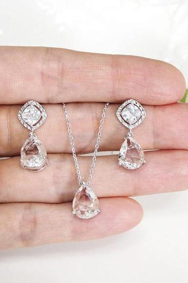 Bridesmaid gift set- clear crystal necklace, Champagne pendant necklace,cubic zirconia earring,glass stone, Bridesmaid gift