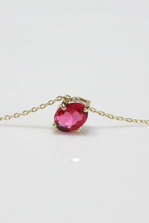 Gold Plated Birthstone Ruby Pendant Necklace