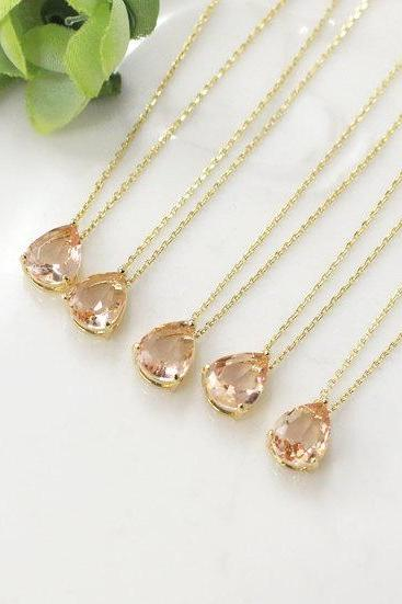 Bridesmaid gifts - Set of 7, 8, 9 -champagne necklace, peach necklace, rose gold necklace, Gorgeous Drop,stone in bezel,raindrop Necklace,