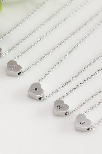 Bridesmaid gifts - Set of 4, 5, 6 - Heart initial necklace, Personalized necklace, white gold plating