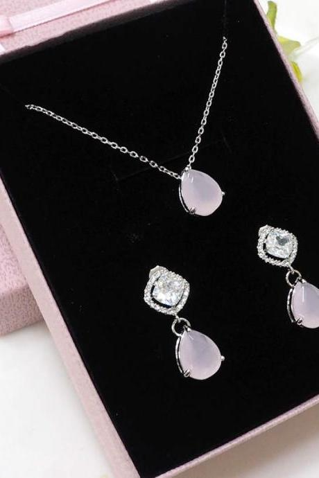 Bridesmaid gift set- pink necklace, pink earring, Champagne pendant necklace,cubic zirconia earring,glass stone, Bridesmaid gift
