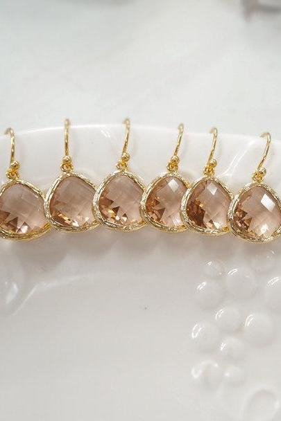 10% off Bridesmaid gifts- 4,5,6 set. Champagne earring, Dangle Earrings,birthstone earring, wedding jewelry, peach earring