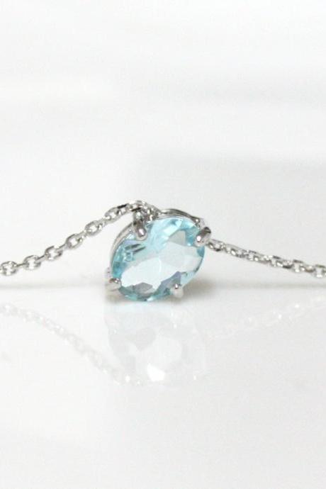 Bridesmaid gifts - Set of 7 - Aquamarine necklace, light blue, March Birthstone