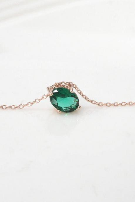 Gold Plated Birthstone Emerald Pendant Necklace