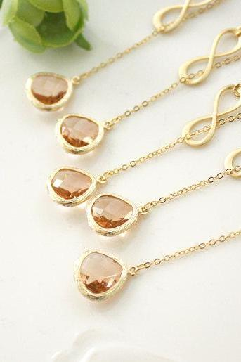 Bridesmaid gifts - Set of 4,5,6 - Champagne pendant necklace, rose gold necklace,infinity lariat necklace, bridesmaid necklace, Peach