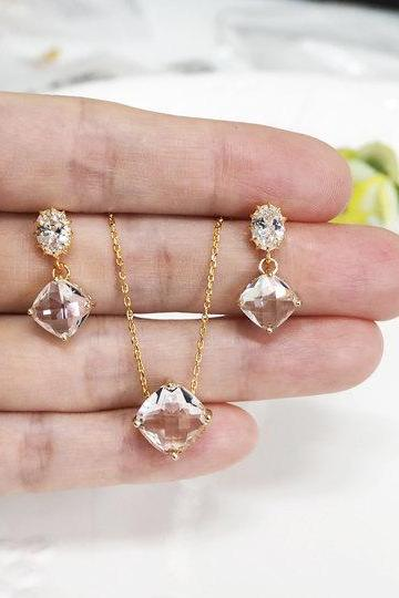 Bridesmaid gift set- clear crystal necklace,cubic zirconia earring, glass stone, Bridesmaid gifts, clear crystal earring