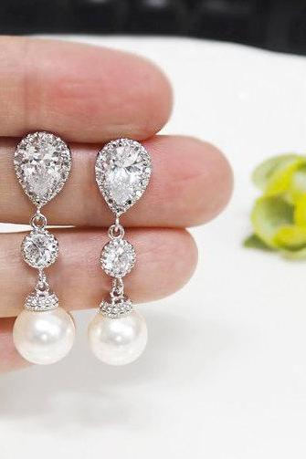 Bridal earrings, Pearl Earrings, Crystal Pearl Bridal Earrings, Swarovski Pearl Earring,cubic zirconia earrings,bridesmaid gift,long earring