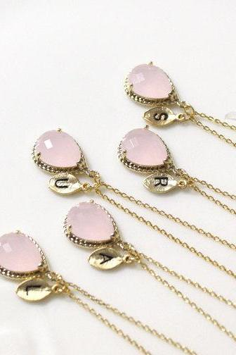 Bridesmaid gifts - Set of 7, 8, 9 - Leaf initial, Pink crystal pendant necklace,Gorgeous Drop, Initial, light pink, B0083-G