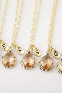 Bridesmaid gifts - Set of 7, 8, 9, 10 - Leaf initial,Champagne pendant necklace, wedding, bridesmaid necklace, Peach necklace