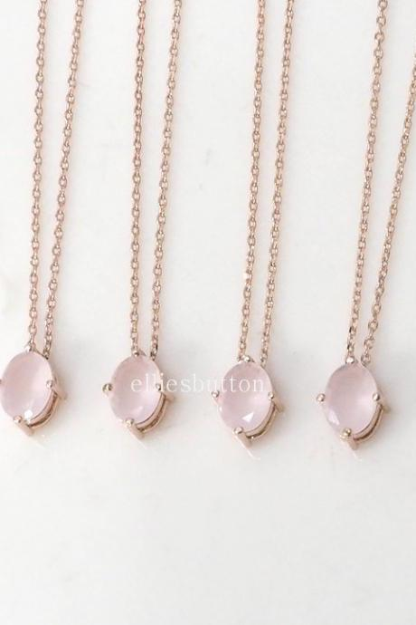 Bridesmaid gifts - Set of 4, 5, 6 - pink crystal necklace, rose gold necklace, stone in bezel, wedding jewelry, bridesmaid necklace