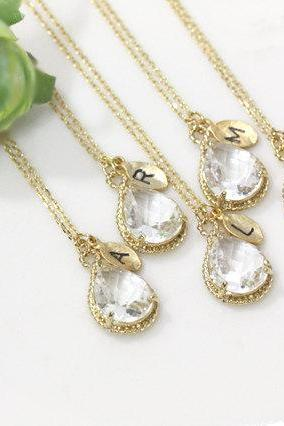 Bridesmaid gifts - Set of 3, 4, 5, 6, 7 - Leaf initial, Clear white crystal drop necklace, Gorgeous Drop , Initial necklace