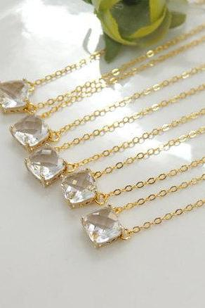 Bridesmaid gifts - Set of 3,4,5,6 - rose gold necklace, Clear crystal necklace, bridesmaid necklace, glass stone necklace, square stone