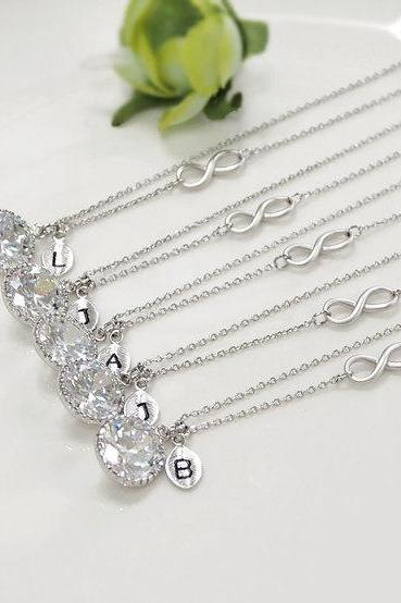 Bridesmaid gifts - Set of 5,6,7 Personalized necklace, cubic zirconia necklace,infinity necklace, initial necklace, clear crystal necklace