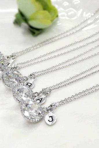 Bridesmaid gifts - Set of 3,4 Leaf initial, Personalized necklace, cubic zirconia necklace, initial necklace, clear crystal necklace