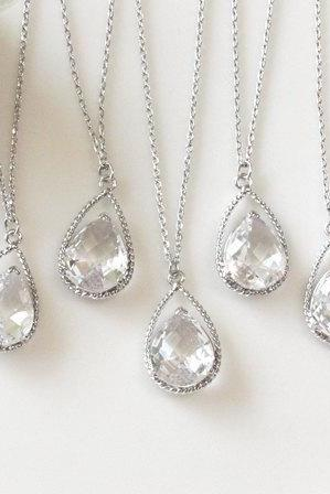 Bridesmaid gifts - Set of 7, 8, 9, 10 - Clear crystal drop necklace, Gorgeous Drop ,stone in twisted bezel, B0111-W