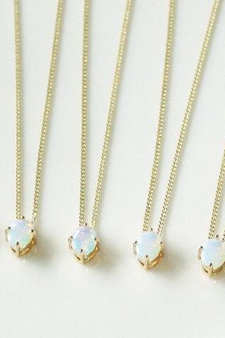 Bridesmaid jewelry - Set of 7 - Simple moonstone necklace