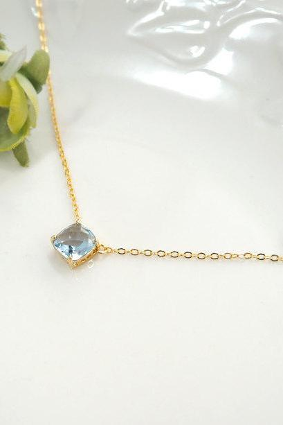 light sapphire necklace, light blue necklace, bridesmaid necklace, square crystal necklace, Bridesmaid Gift, glass stone, Everyday Necklace