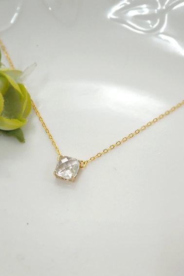 clear crystal necklace, bridesmaid necklace, square crystal necklace, Bridesmaid Gift, glass stone, Everyday Necklace