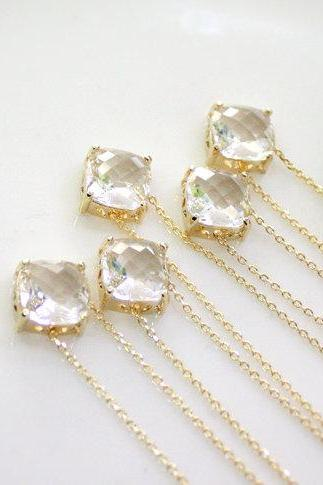 Bridesmaid gifts - Set of 5,6,7 - Clear crystal pendant necklace, Clear crystal stone,bridesmaid necklace, glass stone