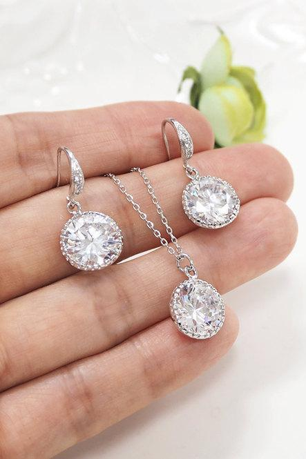 Bridesmaid gift set- cubic zirconia earrings, bridesmaid gift, cubic zirconia necklace, wedding jewelry, Bridal Jewelry