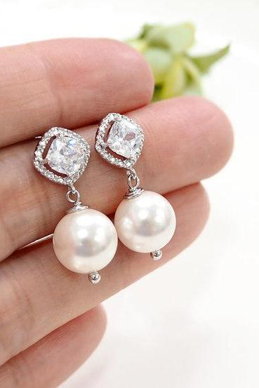 Pearl Earrings, Swarovski Pearl Earrings, cubic zirconia earrings,bridesmaid gift