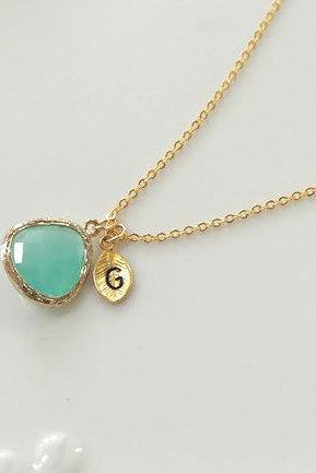 Initial necklace, Personalized initial Leaf, Mint crystal pendant necklace, stone in bezel