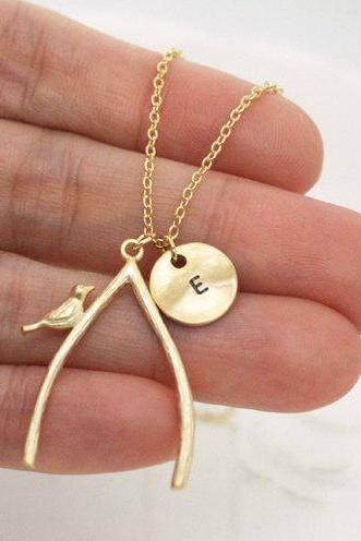 long wishbone necklace, initial necklace,Bird on the wishbone, dainty jewelry,layering necklace, friendship, make a wish
