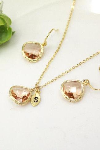 Bridesmaid Gift Set- Champagne Crystal Pendant Necklace and Earrings, wedding, bridesmaid necklace, Peach,stone in bezel,Maid of Honor Gift