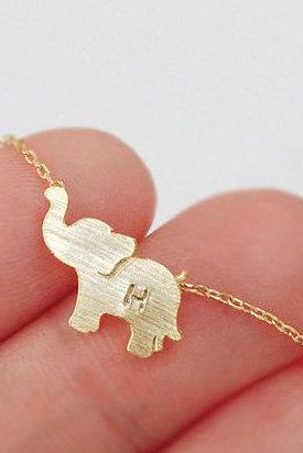 Elephant necklace, Personalized necklace, initial necklace, Personalized Jewelry, friendship necklace, handstamp initial, christmas gift