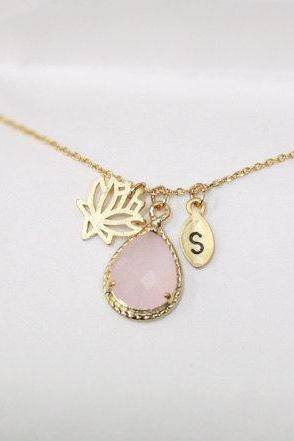 Lotus flower necklace,Leaf initial,personalized,Pink crystal pendant necklace,Initial, light pink
