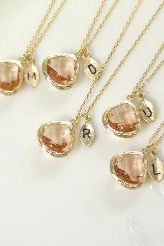 Bridesmaid gifts - Set of 5 -Leaf initial,Champagne pendant necklace, wedding, bridesmaid necklace, Peach necklace, initial,B0060-G,