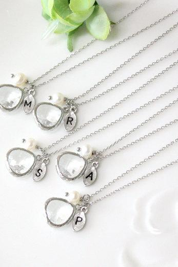 Bridesmaid gifts - Set of 7 -Leaf initial, Clear crystal pendant necklace, with swarovcki pearl, Initial necklace, B0060-W