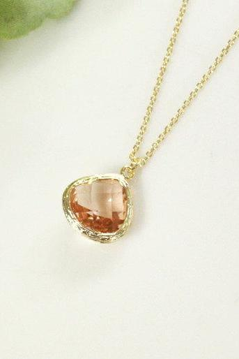 Champagne pendant necklace, wedding, bridesmaid necklace, Peach necklace, B0060-G